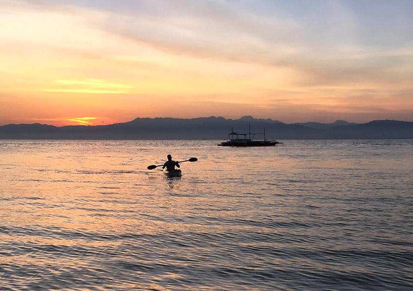 David kayaking in Moalboal