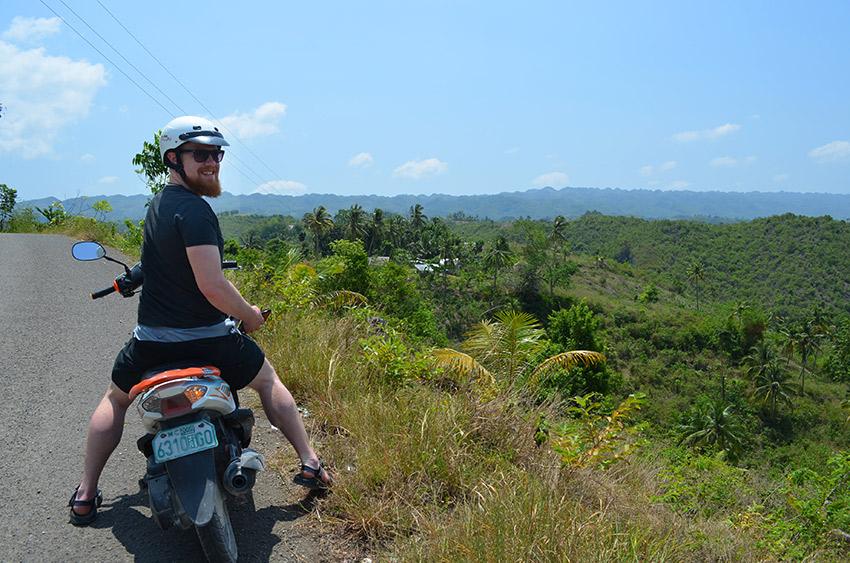 David riding a motorbike