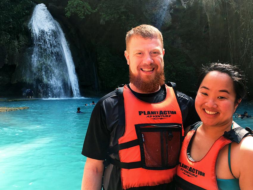 David and Leah by Kawasan waterfall