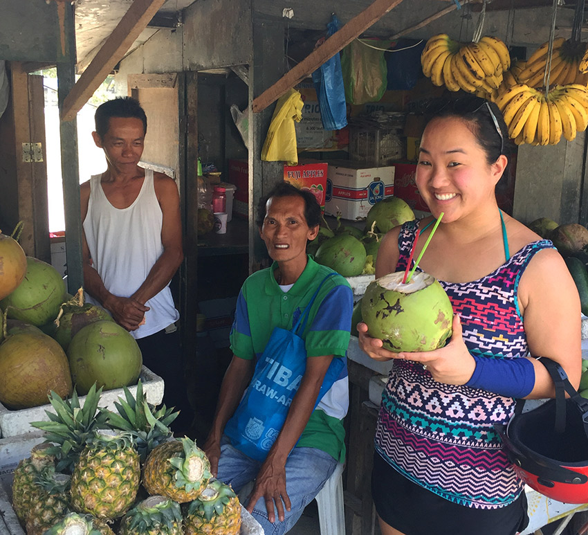 Leah with coconut vendors