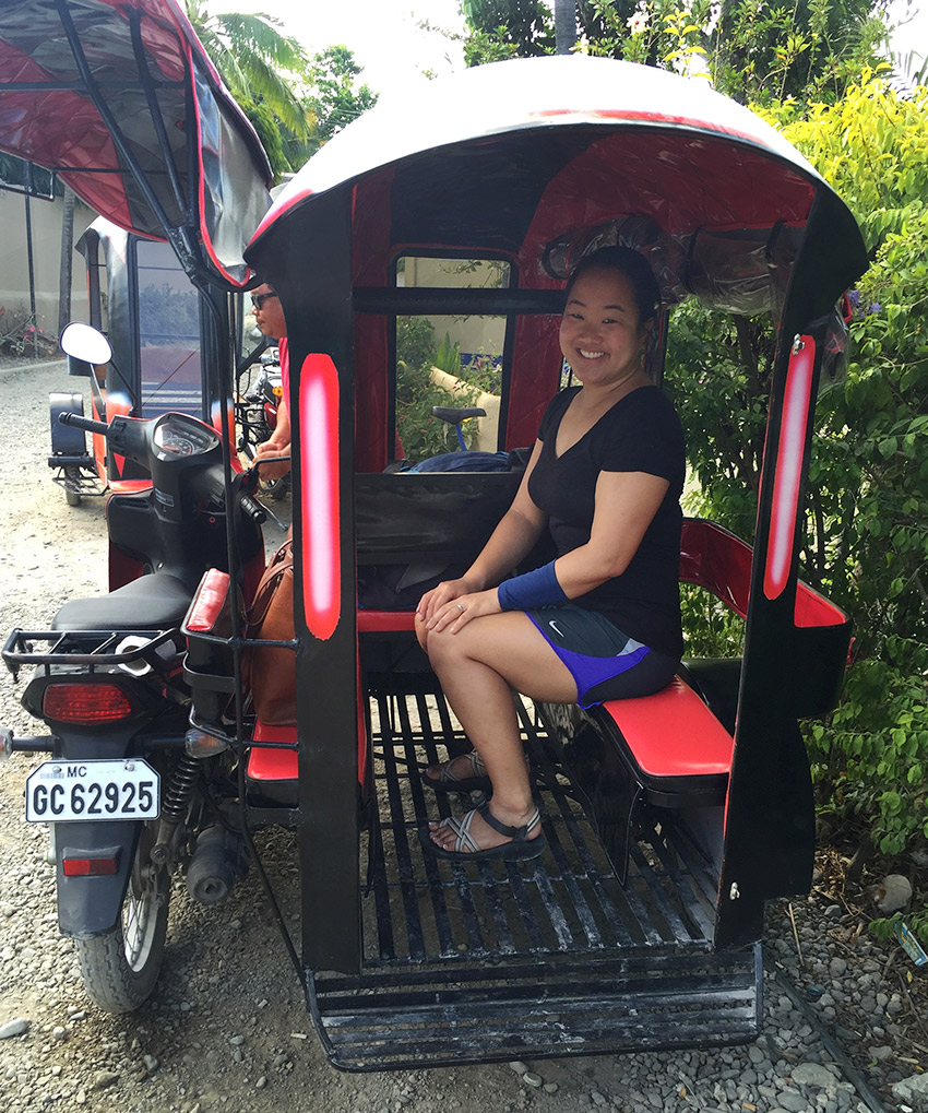 Leah in a Philippines bike taxi