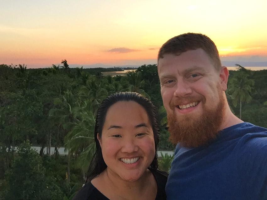 David and Leah at sunset