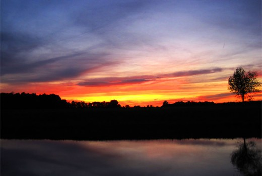 Sunset over the Benedict pond