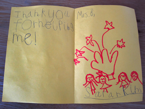 A thank you card from a kindergartener