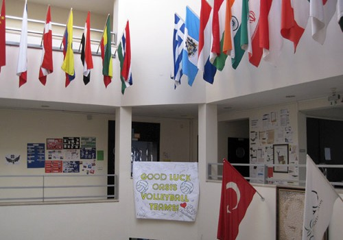 Flags hanging in our school