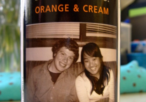 Customized Jones Soda bottles with our photo on it.