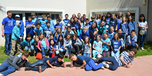 Students wore blue shirts on blue out day