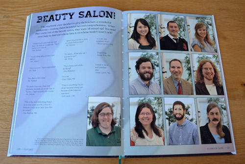 A fun page where students mixed the faces of the staff