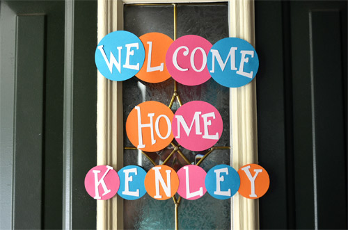 Welcome home baby sign