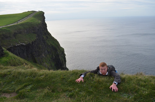 David falling off the Cliffs of Moher