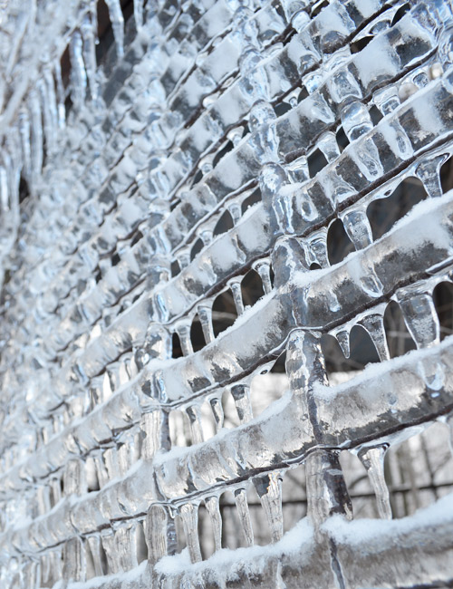 Icicles on the fence