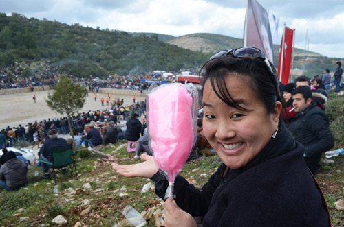 Leah with cotton candy