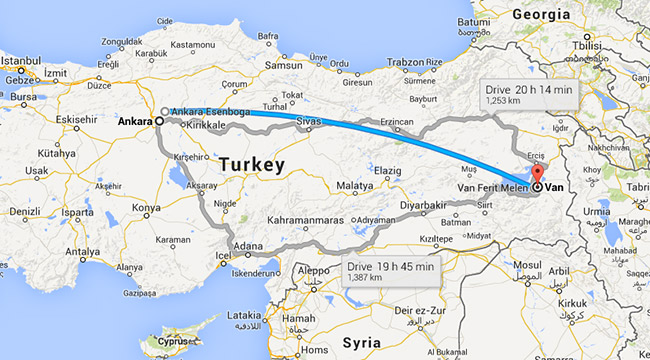 Map of Ankara to Van