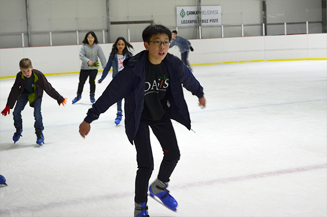 Ice skating in the rink