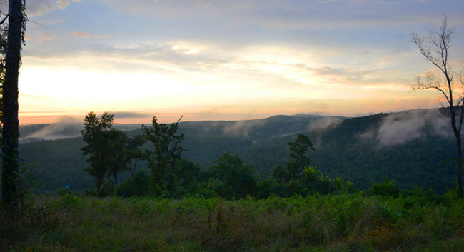 Sunset and mist over Greers Ferry Lake