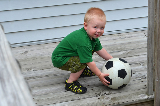 Ethan holding a ball