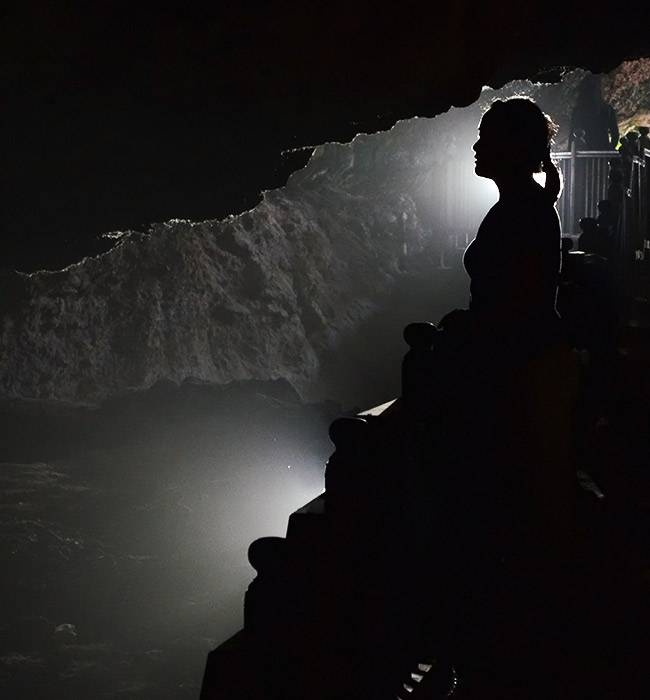 Silhouette in cave