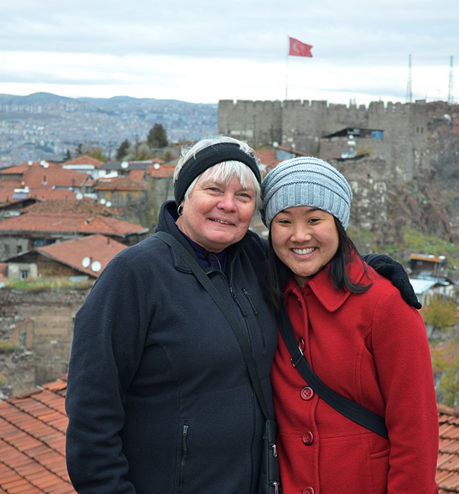 Mom and Leah at the castle