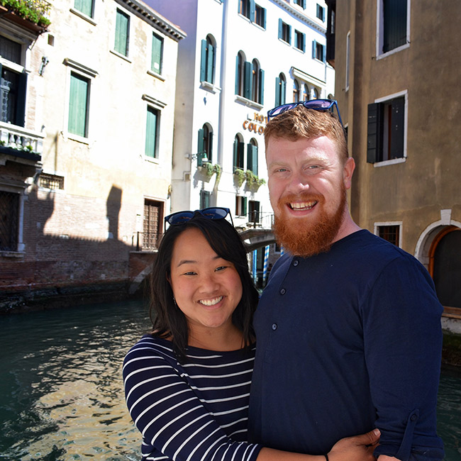 Leah and David by a Venice canal