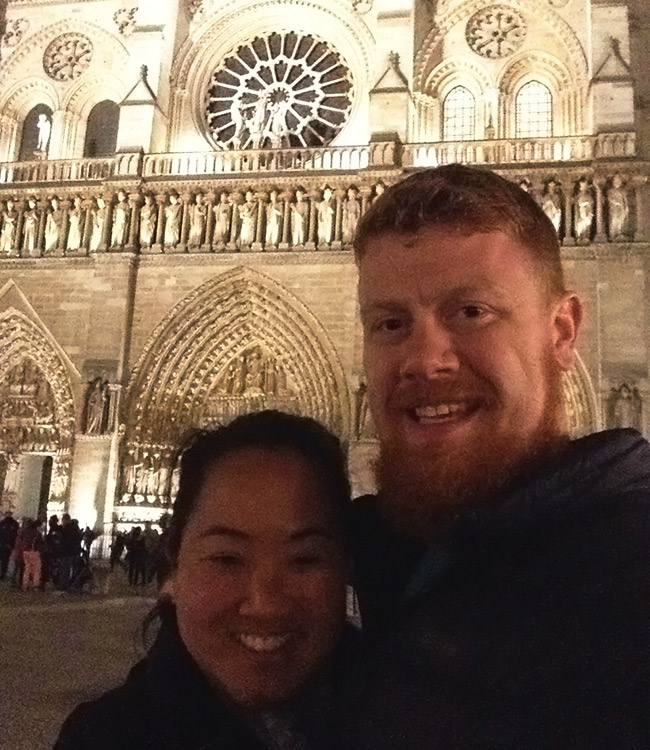 Leah and David outside Notre Dame
