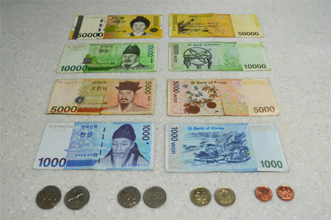 Korean bills and coins