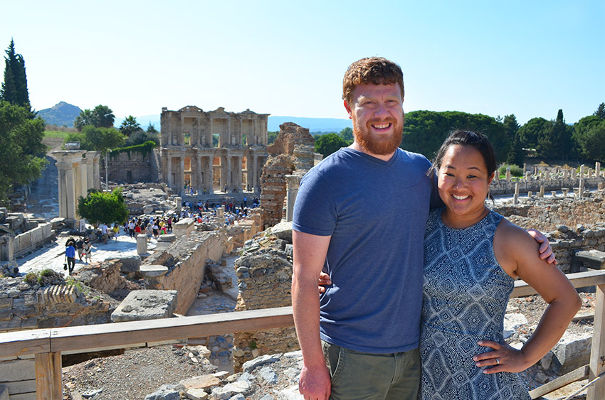 David and Leah with Ephesus Library