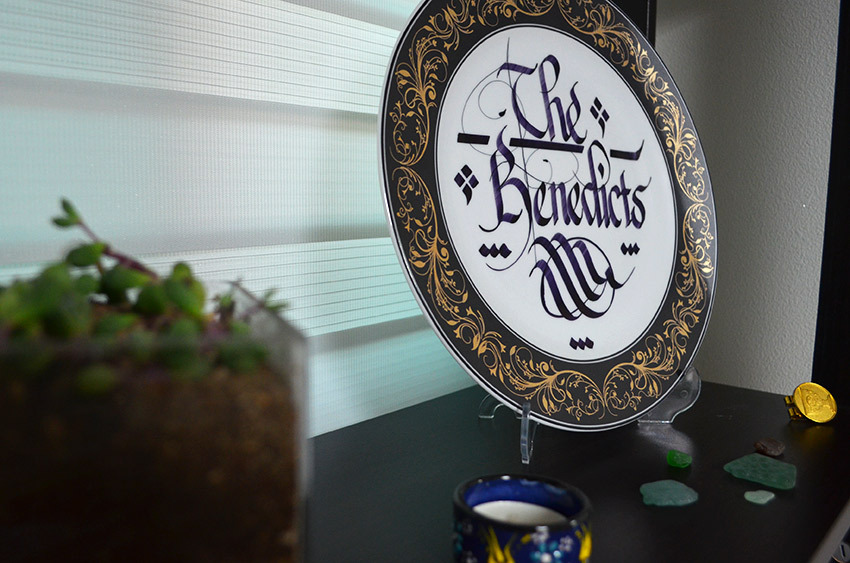 Entry shelf - calligraphy plate