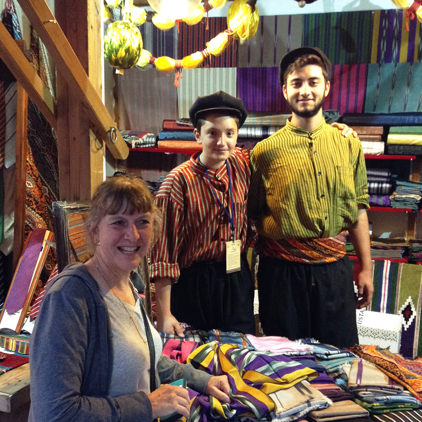Mom posing with Gaziantep tie sellers