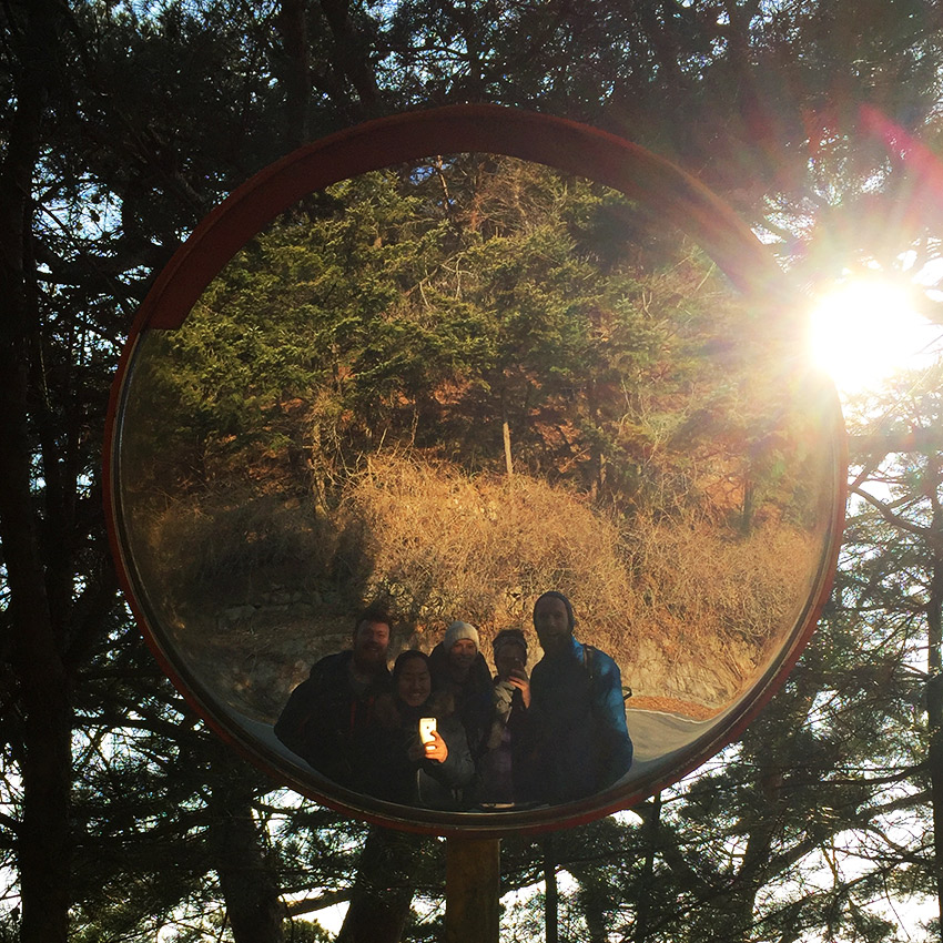 Hiking buddies - selfie in mirror